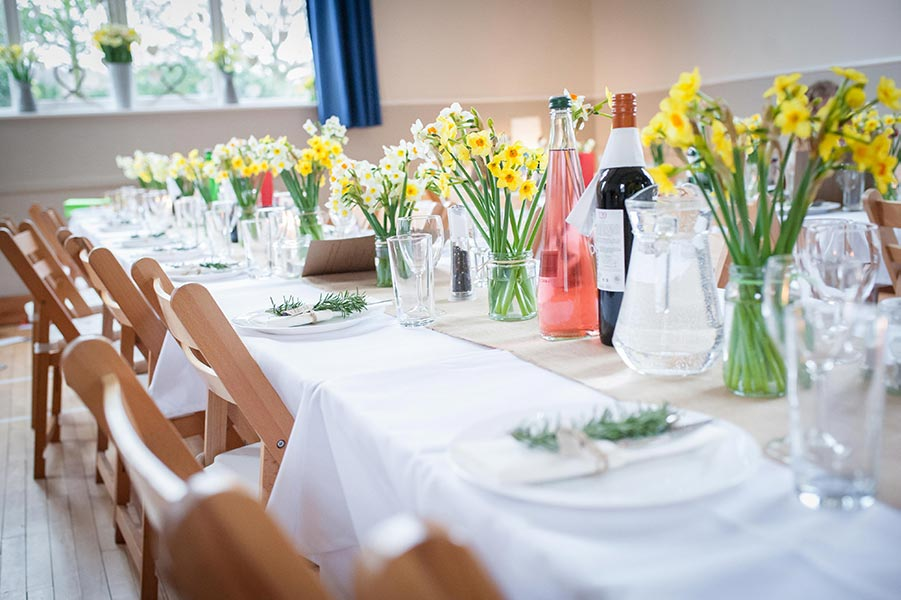 Wedding tables at Dumbleton Village Hall