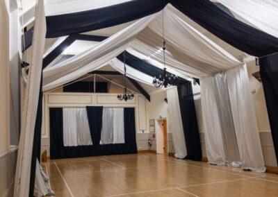The Main Hall dressed for a celebration at Dumbleton Village Hall