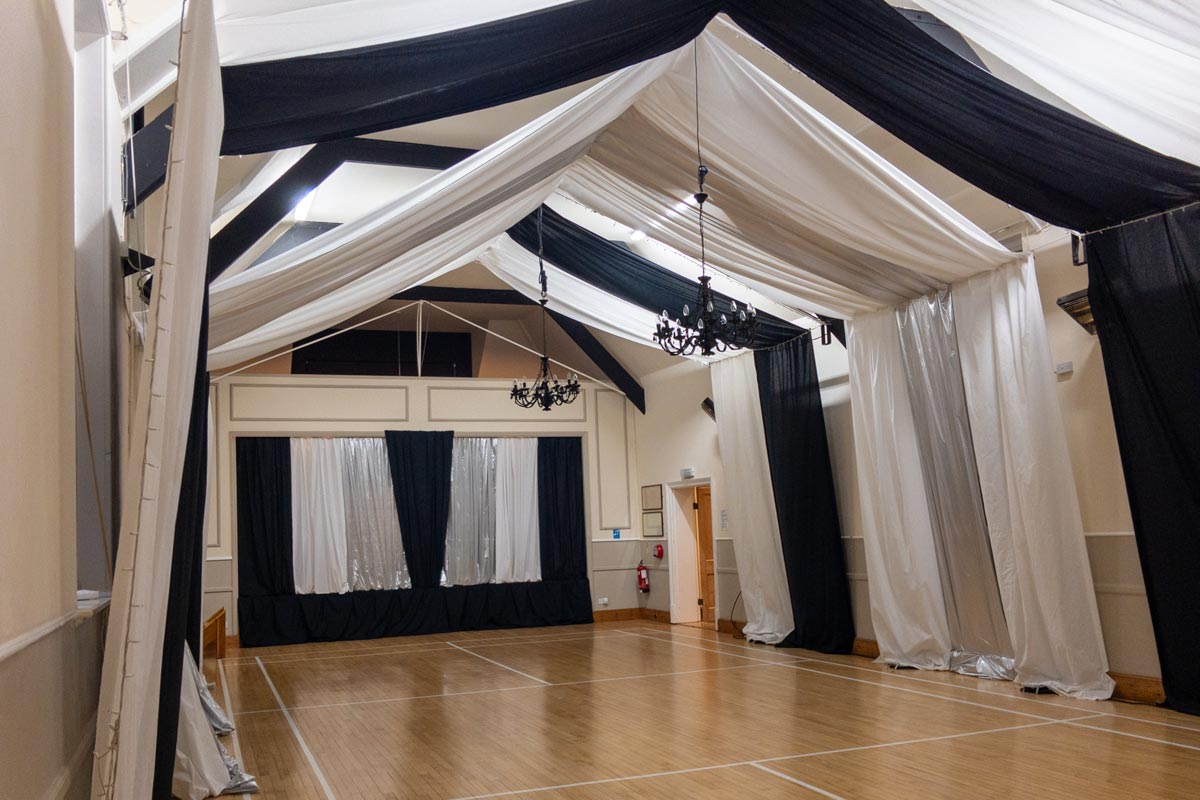 The Main Hall dressed for a celebration at Dumbleton Village Hall