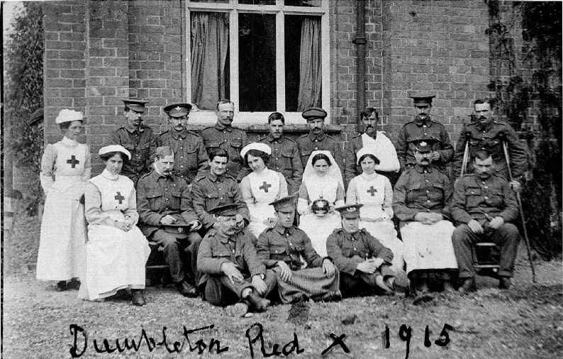 Mono photo of servicemen and nurses at Dumbleton Village Hall